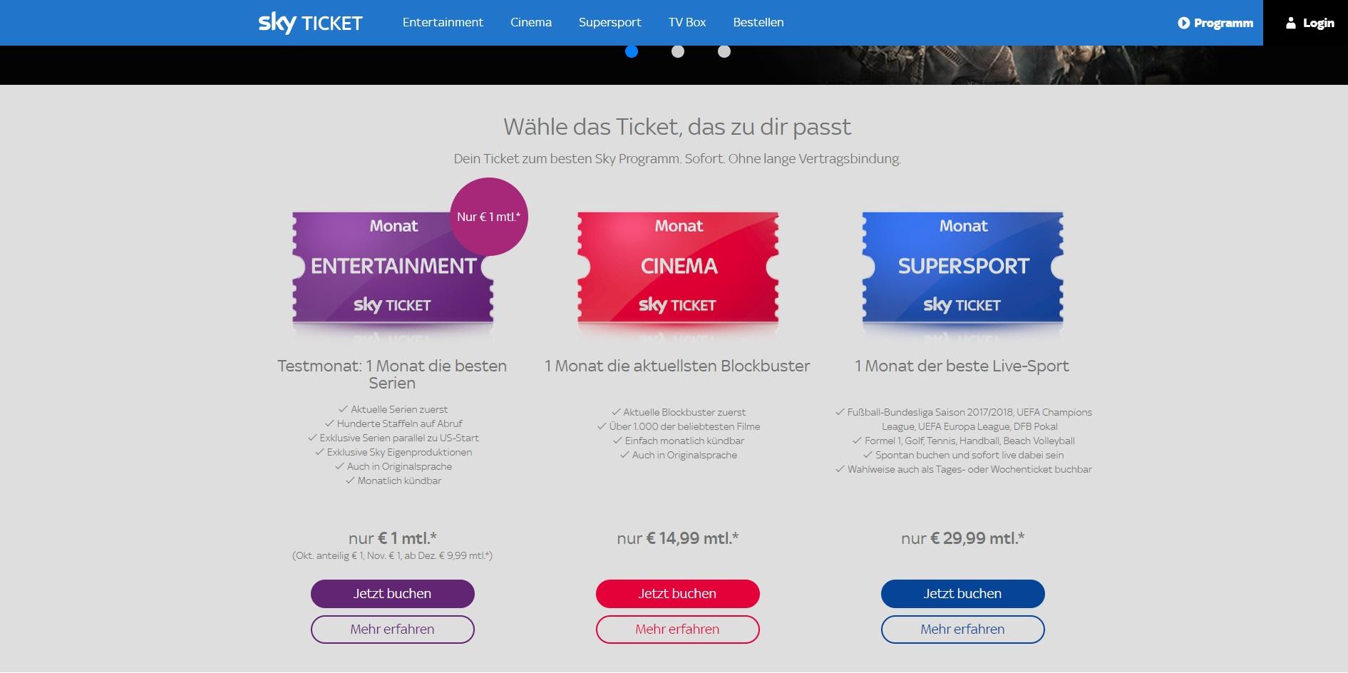 Singlebörsen: Sky Ticket